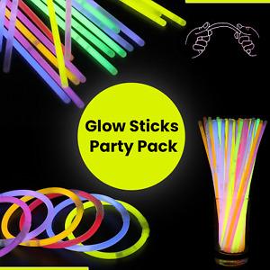 """Glow Sticks 8"""" Bracelets Necklaces Party Favors Neon Color Light Up 15/25/50/100"""