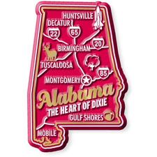 Alabama the Heart of Dixie Deluxe State Map Fridge Magnet