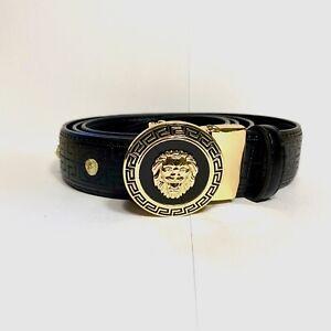Mens Kavali Adjustable Ratchet Belt Black Gold Circle Greek Lion Buckle Studded
