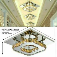 Modern LED Ceiling Light Crystal Chandelier 12W Square Living Room Hallway Lamp