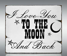 SC8 Love To The Moon Personalised Shabby Vintage Chic Sweet Table Sign Standing