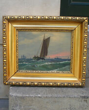 Danish Fishermen returning home at sunset. Signed and dated 1895. Fine oil.