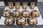 Lot Of 7 Flush Mount Light Fixure & 4 Sconce Brass Finish Slag Glass Mission