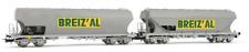 Jouef BREIZ'AL SNCF Epoque IV/V Echelle HO Set de 2 Wagons à Toit Basculant - Gris (HJ6185)