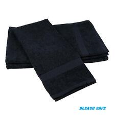 96 (8 dozen) new black salon towels gym spa hair hand towels 16x27 bleach safe