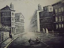 Pintura al óleo Venecia Canal Barco Grande Lienzo Negro Blanco Cityscape contemporáneo