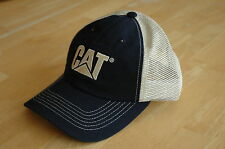 Caterpillar CAT Navy Blue Front & Cream Mesh Back Hat / Cap