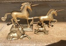 "4 Vintage Solid Brass Metal Mystical Unicorn Lot Figurines 3.5"" To 9"""