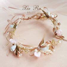 Bow Tie Pearl Crystal Flower Wreath Wedding Bridal Headband Hair Vine Hairpiece