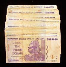 100 x Zimbabwe 10 Billion Dollar bank notes -very used/poor condition bundle
