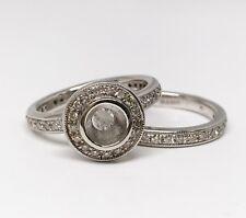 14K White Gold Filigree Semi Mount Diamond Engagement Ring Set, Dia 0.86 CT