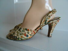 Vintage 1950's Foot Flairs Novelty Print Fabric Open Toe Sling Back Pumps Sz. 8