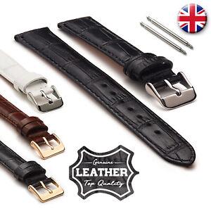 Men's Genuine Shiny Croco Padded Leather Watch Straps