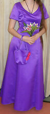 HAND MADE PURPLE FORMAL DRESS + FLOWERS MATCHING BAG SZ 10 BRIDESMAID/PROM/BALL