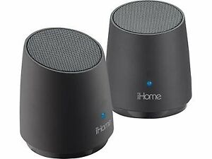 2 x iHome iHM89 Mini Portable Rechargeable Speakers For iPhone MP3 + LED Black