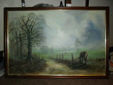 Beautiful Original Painting of a Horse & Birds in a English countryside Signed