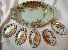 Vintage Imperial Nippon Celery Dish and 5 Salts, Floral, Gold,  Great for Sushi