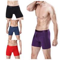 Mens Long Johns Boxer Trunks Cotton Underpants Breathable Stretch Sport Shorts