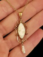 Art Deco 10K Yellow Gold Carved Angel Skin Coral & Pearl Lavaliere Necklace