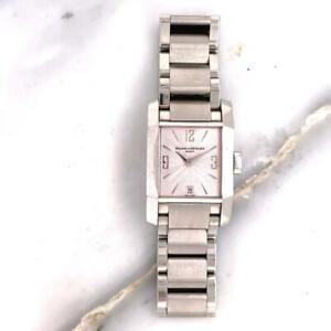 Stainless Steel Baume & Mercier Diamant 65488 Date Pink Dial Quartz Ladies Watch