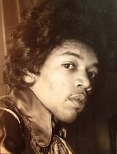 JIMI HENDRIX clipping B&W photo 1960s curly head-shot with stubble & silk collar