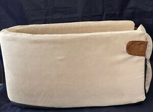 Dog Bed Carrier for Vehicle Center Console, Rose Beige, Removable Bed, Pockets