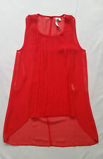AS NEW Forever New Size 4 Orange Red Top Blouse Tank Pleated Glam Event Office