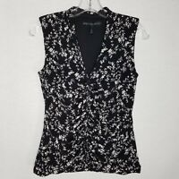 White House Black Market Sleeveless Blouse Ruched V-neck Floral Size Small H322P