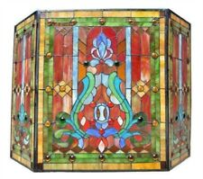 Fireplace Screen Fleur-de-lis Tiffany Style Stained Glass 3 Piece 28 x 44