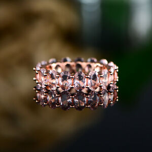 Sevil 18K Rose Gold Plated Oval Cut Created Morganite Eternity Ring Band