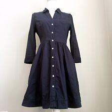 Anthropologie Moulinette Soeurs Women's Reed Shirt Dress Tab Sleeve Size 6 Navy