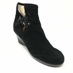 Women's You by Crocs Ankle Boots Booties Shoes Size 10M Black Suede Wedge A13