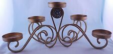 5 Pillar Candle Holder Candelabra Gold-Painted Shabby Home Decor w/ Chic Flower