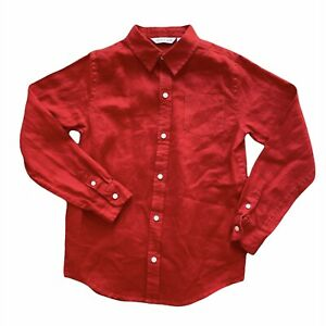Janie And Jack Boy Long Sleeve Red Linen Shirt Size 8 Button Down Collared Top