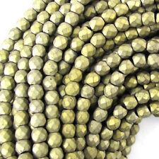 "4mm faceted matte hematite round beads 15.5"" strand light gold"