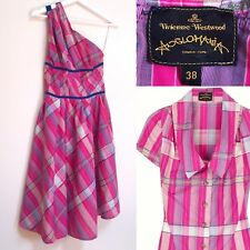Vivienne Westwood Dress Anglomania Pink Check Cotton One Shoulder Asymmetric XS
