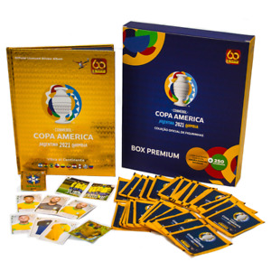 Panini Box Premium Copa America 2021 Gold HARDCOVER Album + 50 packets