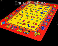 5x7 Educational Area Rug  ABC Kids School Time Numbers Train Yellow & Red Child