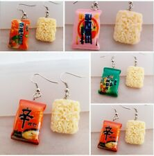 Oriental Instant Fried noodles earrings Fast junk Food jewellery party favour