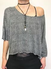 FAB SHAKUHACHI GREY BLACK REPTILE PRINT OVERSIZED T SHIRT TOP SZ 8 WIDE BODY