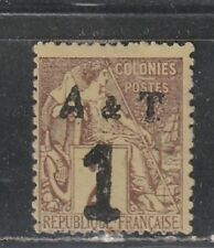 1888 French colony stamps, Annam & Tonkin Indochina 1c on 2c MH no gum, SC 1