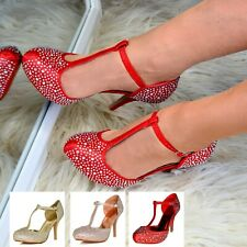 Señoras Diamante Sandalias De Taco Alto Puntera Completo Zapato T-bar de noche de fiesta de boda Tamaño