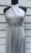 David Meister Metallic Silver Grecian Goddess Dress Size 2