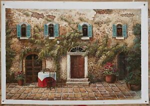 """Fine art realism  oil painting on canvas old building garden hand-painted 24x36"""""""