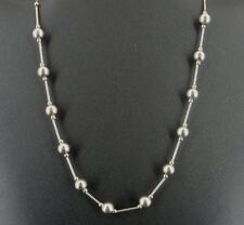 Round and Tube Beads Sterling 925 Silver Chain Necklace 17 Inch Long