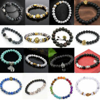Women's Men's Black Matte Agate Lava Rock Buddha Head Gemstone Beads Bracelet