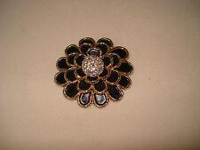 Vintage Jomaz Joseph Mazer Flower Brooch Black Gold Pave Crystal