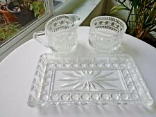 Vintage Top Quality Clear Crystal Cream & Sugar & Tray  c1940's