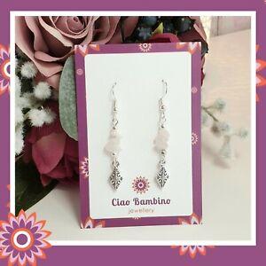 Rose Quartz Earrings Silver Plated Diamond Filigree Pink Gemstone Crystal Gift