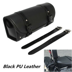 Motorcycle Tool Bag PU Leather Luggage Handle Bar Round Storage Pouch